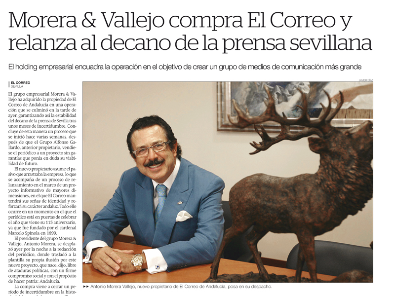 Antonio Morera Vallejo, presidente de Grupo Morera & Vallejo, es el nuevo propietario de El Correo de Andalucía.
